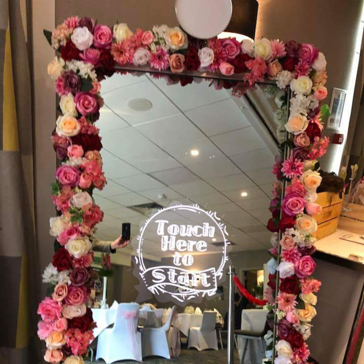 Magic mirror photo booth touch to start